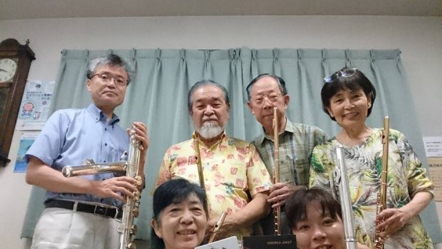 Andrea's Japanese friends from Nagasaki with her CDs and Muramatsu flutes